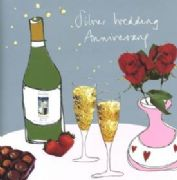 Silver Wedding Anniversary Card - Romance